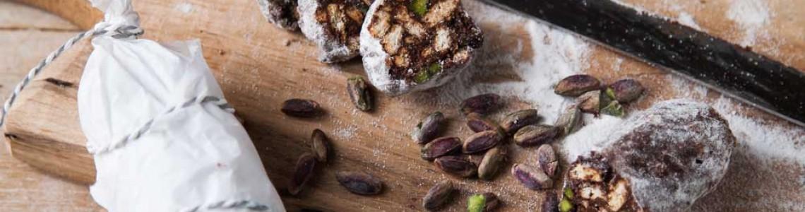 Salame di cioccolato al pistacchio di Bronte